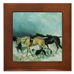 The Storm Borzoi Framed Tile