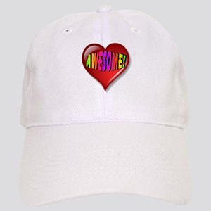 Awesome Heart with Rainbow Font Baseball Cap