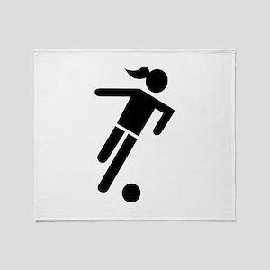 Women soccer Throw Blanket