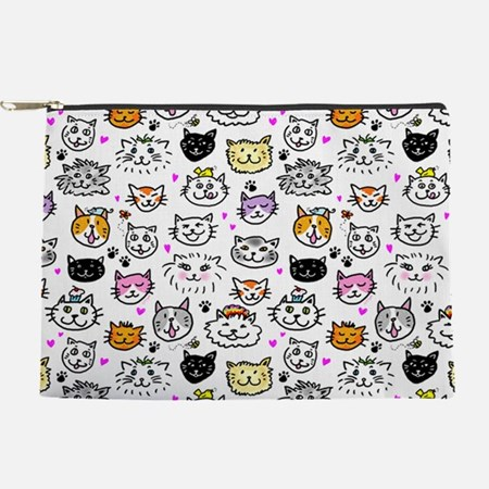 Whimsical Cat Faces Pattern Makeup Bag