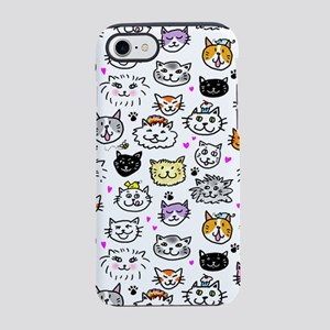 Whimsical Cat Faces Pattern iPhone 7 Tough Case