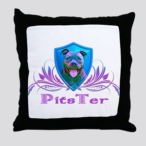 PitsTer, A Pit Bull Dog Lover Throw Pillow