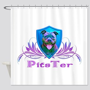 PitsTer, A Pit Bull Dog Lover Shower Curtain
