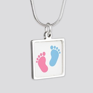 Baby feet Silver Square Necklace