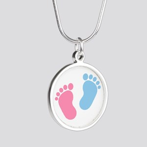 Baby feet Silver Round Necklace