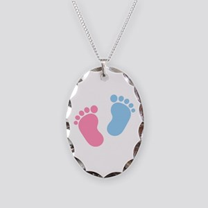 Baby feet Necklace Oval Charm