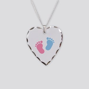 Baby feet Necklace Heart Charm