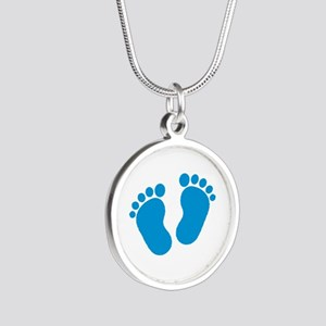 Blue baby feet Silver Round Necklace