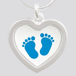 Blue baby feet Silver Heart Necklace