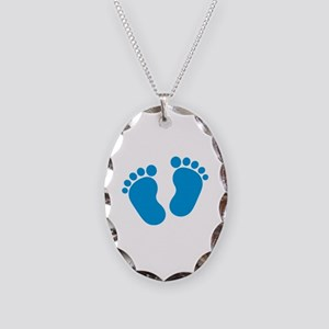 Blue baby feet Necklace Oval Charm