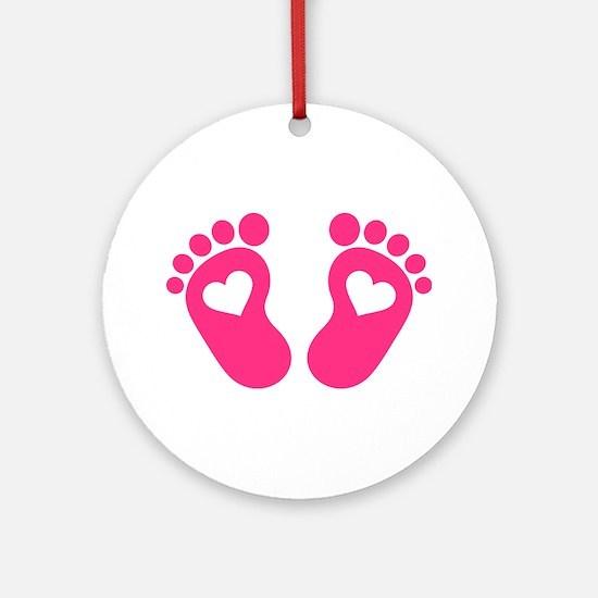 Baby feet hearts Ornament (Round)