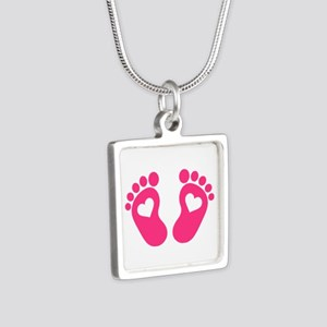 Baby feet hearts Silver Square Necklace