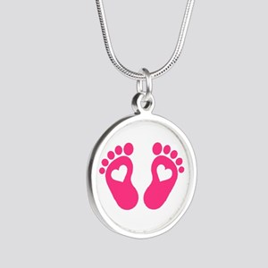 Baby feet hearts Silver Round Necklace