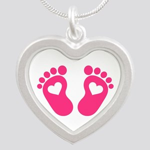 Baby feet hearts Silver Heart Necklace