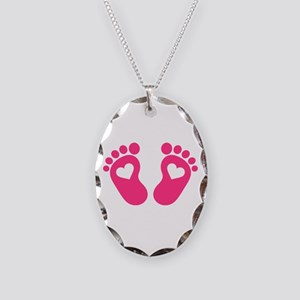Baby feet hearts Necklace Oval Charm