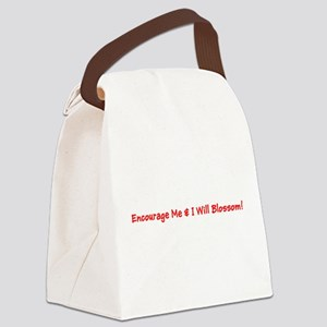 Encourage Me I Will Blossom Red Canvas Lunch Bag