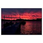 Sunset lake Large Poster