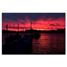 Sunset lake Large Poster