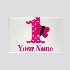 Pink Butterfly First Birthday Rectangle Magnet