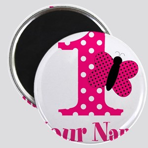 Pink Butterfly First Birthday Magnet