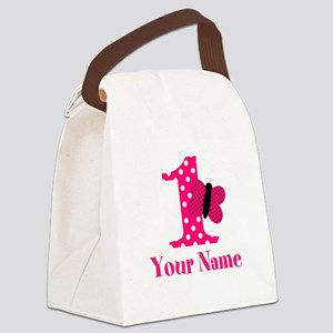 Pink Butterfly First Birthday Canvas Lunch Bag