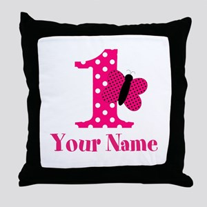 Pink Butterfly First Birthday Throw Pillow