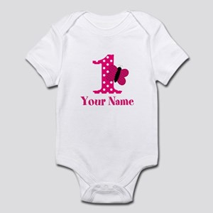 Pink Butterfly First Birthday Body Suit