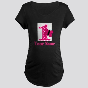 Pink Butterfly First Birthday Maternity T-Shirt
