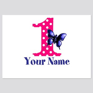Pink And Purple Butterfly First Birthday Flat Card