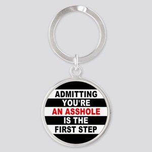 AA The First Step is... Round Keychain