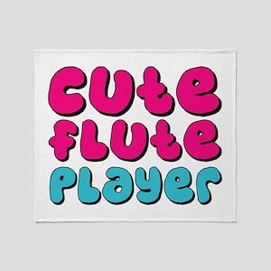 Cute Flute Player Throw Blanket