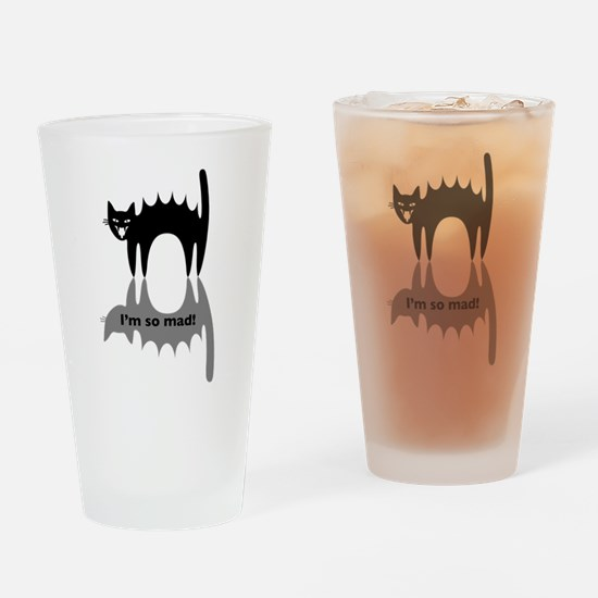 """Angry Cat """"I'm so mad!"""" Drinking Glass"""