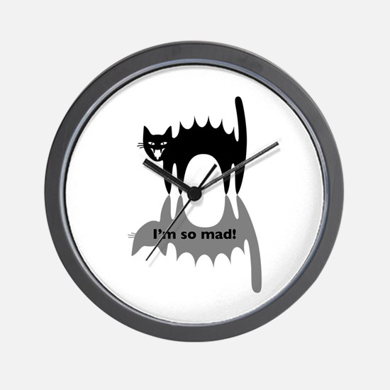 """Angry Cat """"I'm so mad!"""" Wall Clock"""