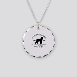 Irish Water Spaniel dog breed design Necklace Circ