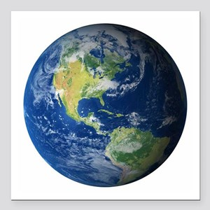 "Planet Earth Square Car Magnet 3"" x 3"""