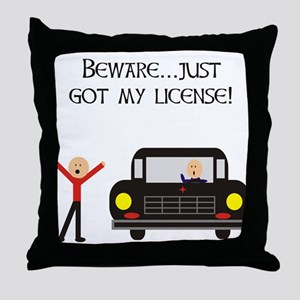 CAUTION NEW LICENSE Throw Pillow
