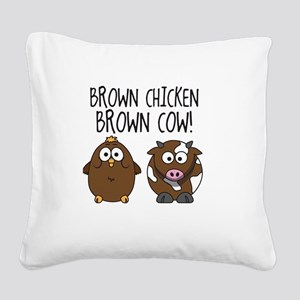 Cute Brown Chicken Brown Square Canvas Pillow