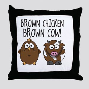 Cute Brown Chicken Brown Throw Pillow