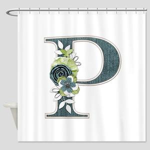 Monogram Letter P Shower Curtain
