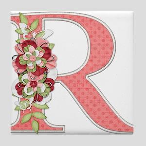 Monogram Letter R Tile Coaster