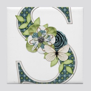 Monogram Letter S Tile Coaster