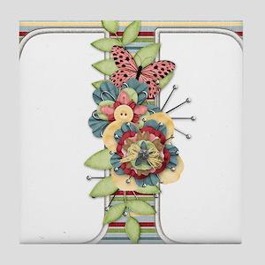 Monogram Letter T Tile Coaster