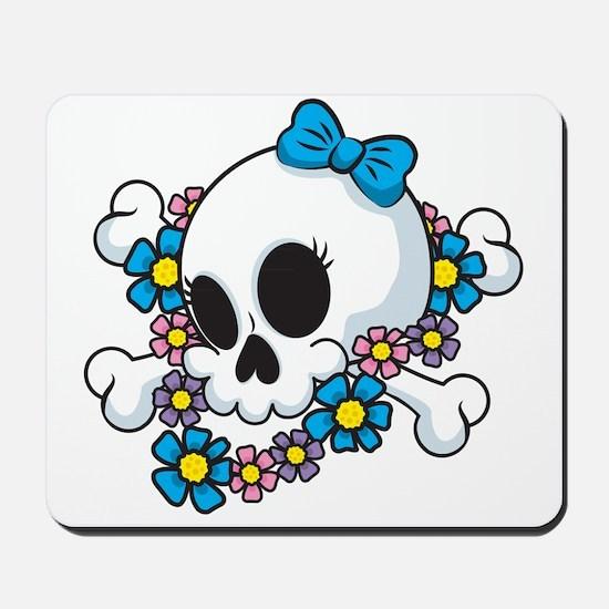 Flower Power Skull Mousepad