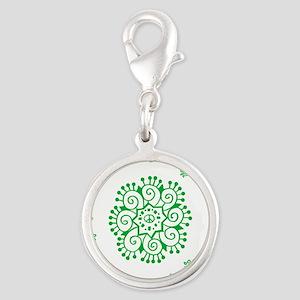 Tribal Peace Wreath Silver Round Charm