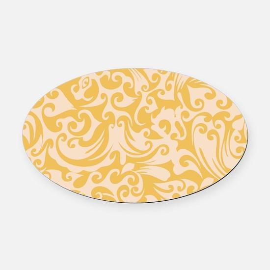 Mimosa & Linen Swirls Oval Car Magnet