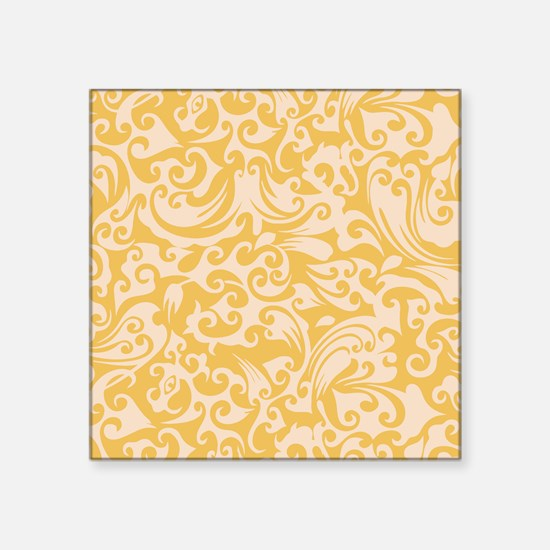 "Mimosa & Linen Swirls Square Sticker 3"" x 3"""