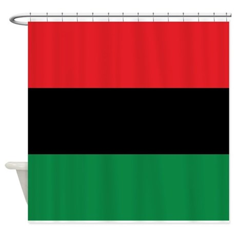The Red, Black and Green Flag Shower Curtain by forgottentongues