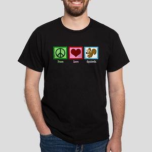 Peace Love Squirrels Dark T-Shirt