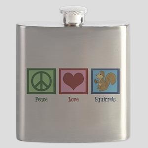 Peace Love Squirrels Flask