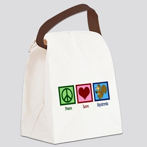 Peace Love Squirrels Canvas Lunch Bag
